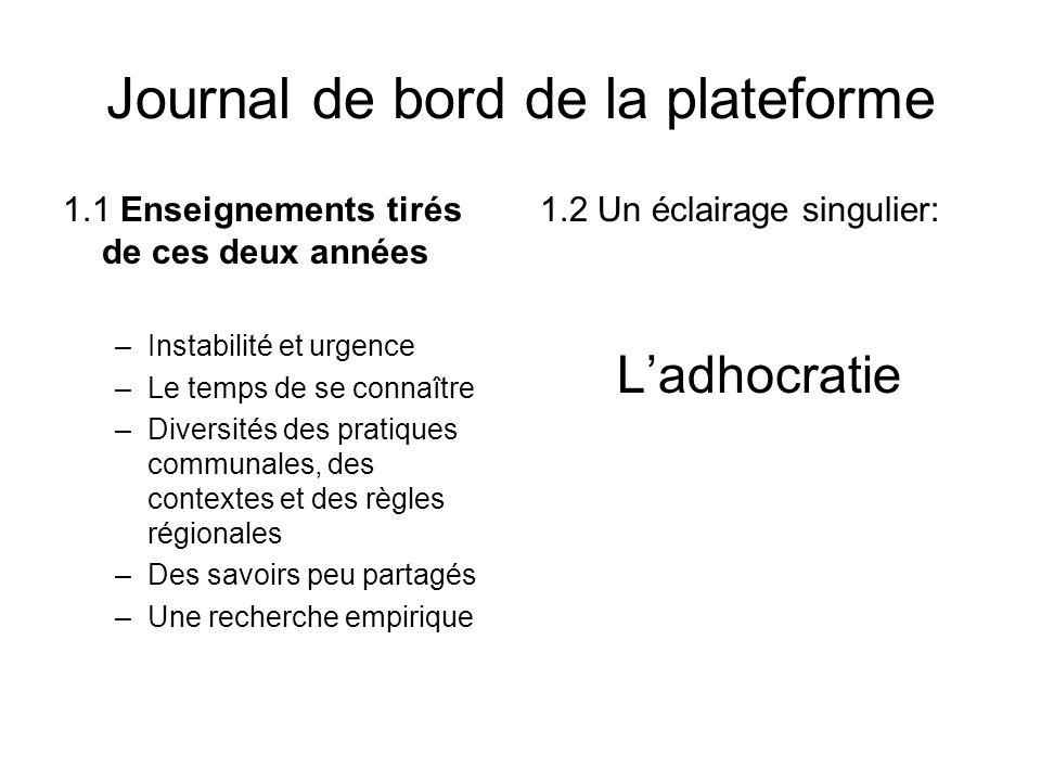 Journal de bord de la plateforme 1.1 Enseignements tirés de ces deux années –Instabilité et urgence –Le temps de se connaître –Diversités des pratique