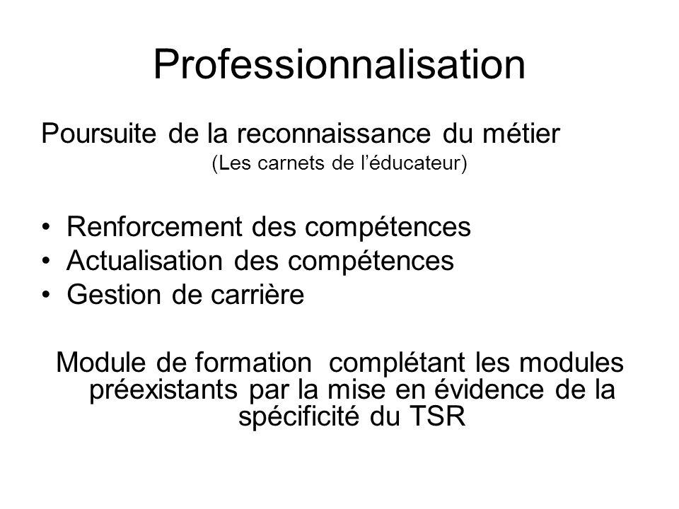 Professionnalisation Poursuite de la reconnaissance du métier (Les carnets de léducateur) Renforcement des compétences Actualisation des compétences G
