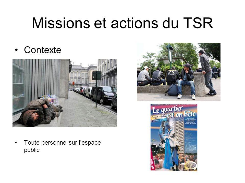 Missions et actions du TSR Contexte Toute personne sur lespace public
