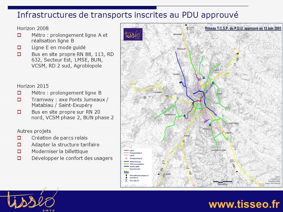 www.tisseo.fr Infrastructures de transports inscrites au PDU approuvé Horizon 2008 Métro : prolongement ligne A et réalisation ligne B Ligne E en mode
