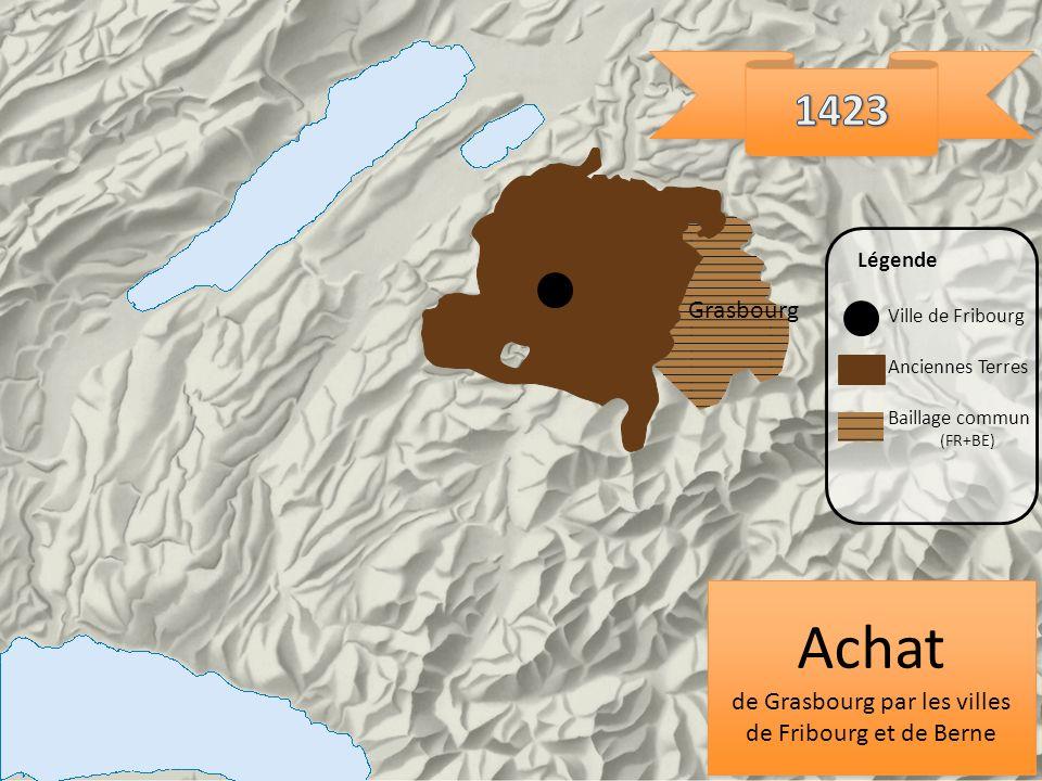 Grasbourg Ville de Fribourg Anciennes Terres Légende Baillage commun (FR+BE) Achat de Grasbourg par les villes de Fribourg et de Berne Achat de Grasbo