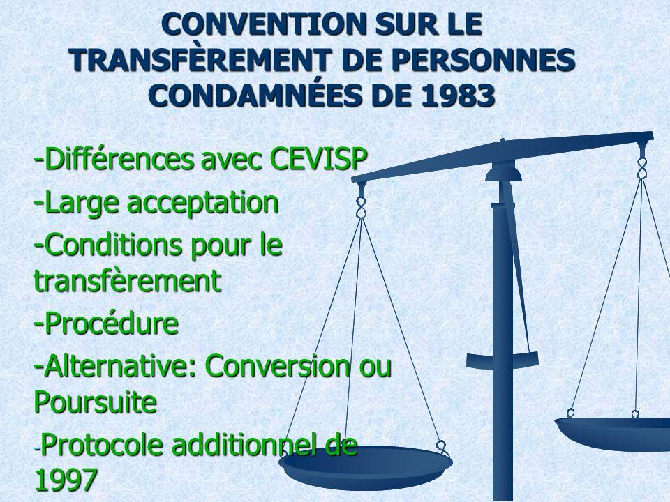 CONVENTION SUR LE TRANSFÈREMENT DE PERSONNES CONDAMNÉES DE 1983 -Différences avec CEVISP -Large acceptation -Conditions pour le transfèrement -Procédure -Alternative: Conversion ou Poursuite - Protocole additionnel de 1997 - Arts.
