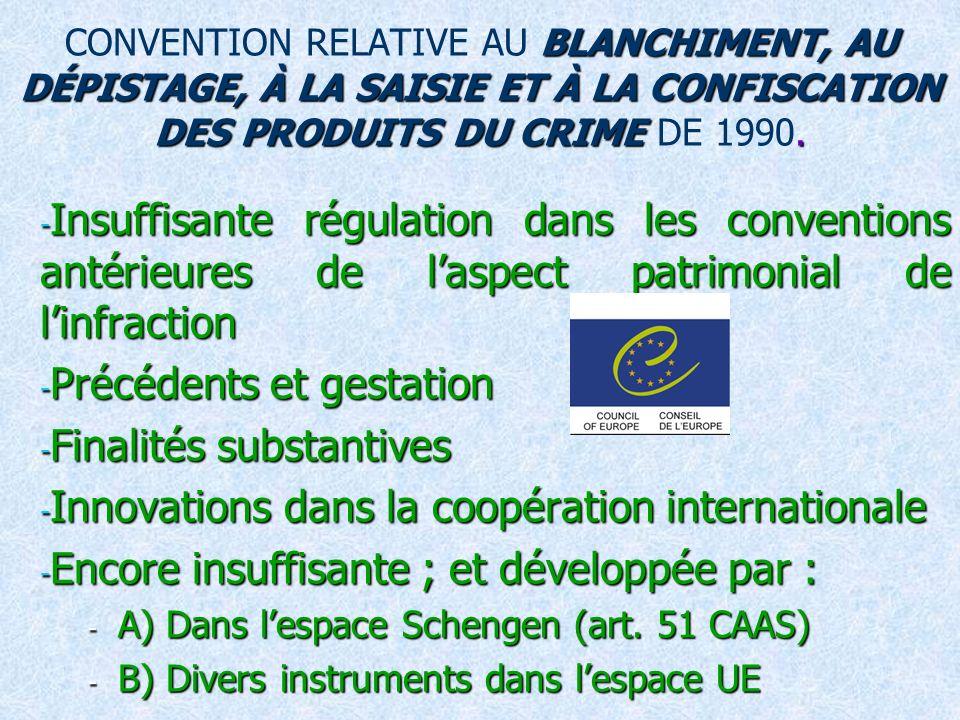 BLANCHIMENT, AU DÉPISTAGE, À LA SAISIE ET À LA CONFISCATION DES PRODUITS DU CRIME.