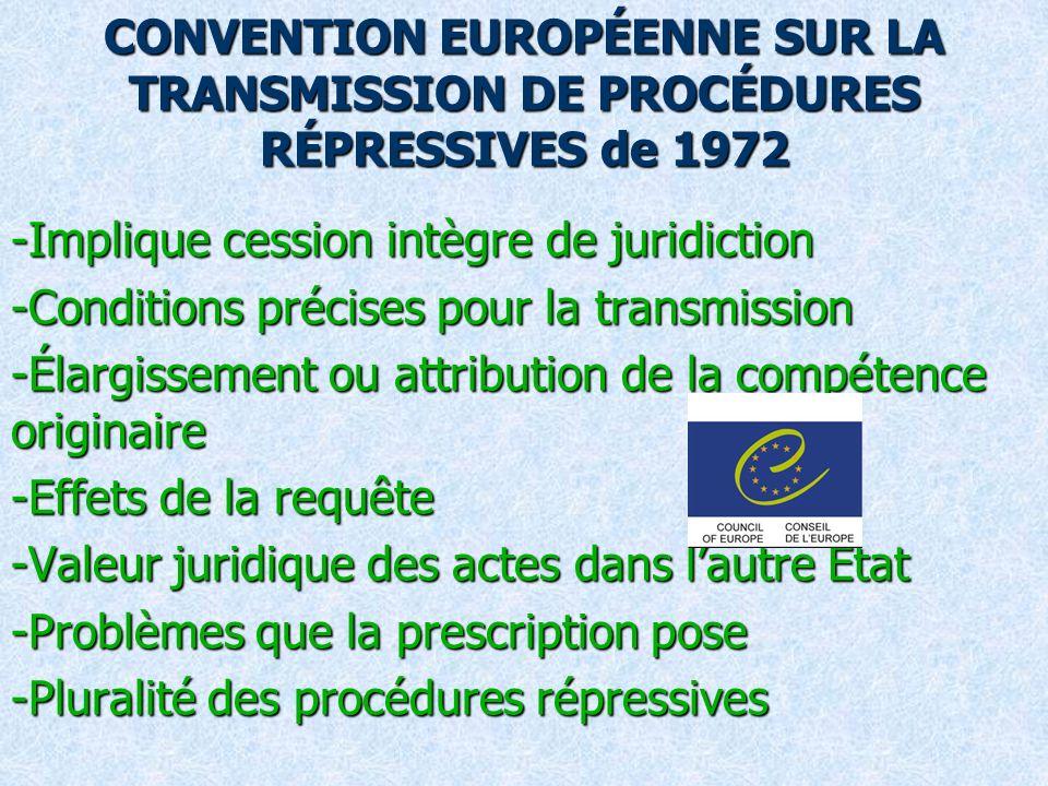 CONVENTION EUROPÉENNE SUR LA TRANSMISSION DE PROCÉDURES RÉPRESSIVES de 1972 -Implique cession intègre de juridiction -Conditions précises pour la transmission -Élargissement ou attribution de la compétence originaire -Effets de la requête -Valeur juridique des actes dans lautre État -Problèmes que la prescription pose -Pluralité des procédures répressives