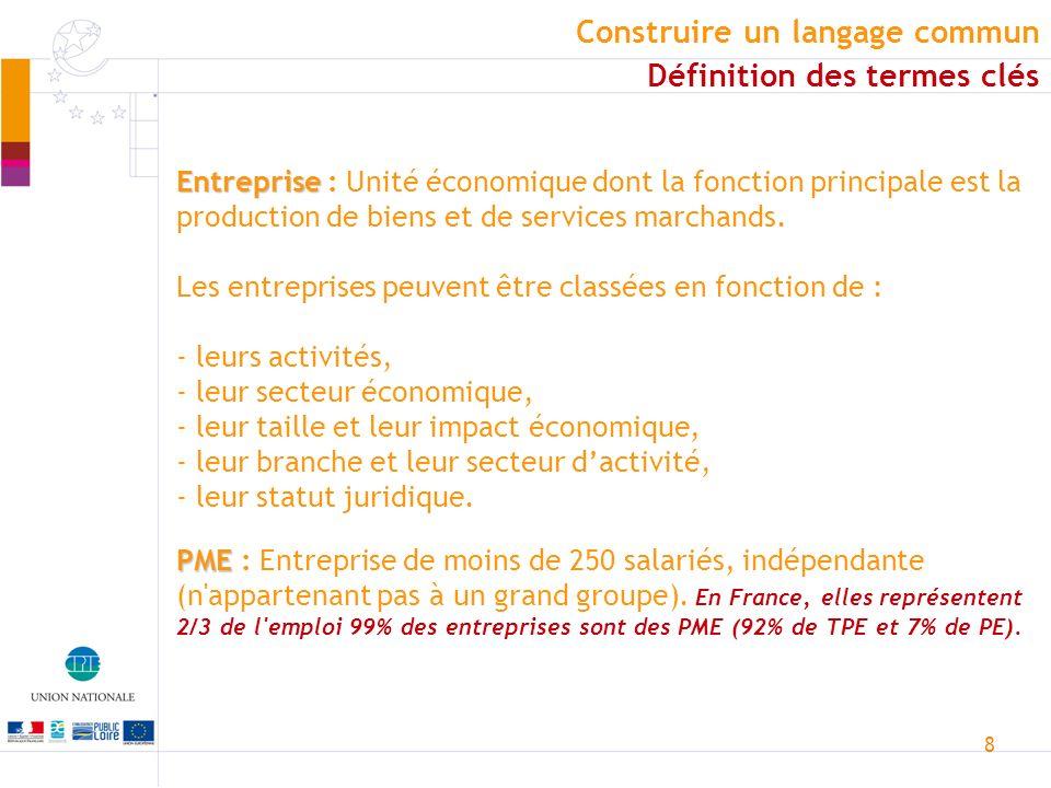 8 Entreprise Entreprise : Unité économique dont la fonction principale est la production de biens et de services marchands. Les entreprises peuvent êt