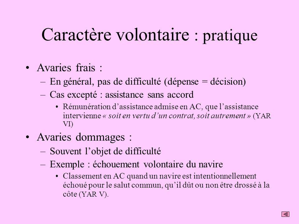 Caractère volontaire : pratique Avaries frais : –En général, pas de difficulté (dépense = décision) –Cas excepté : assistance sans accord Rémunération