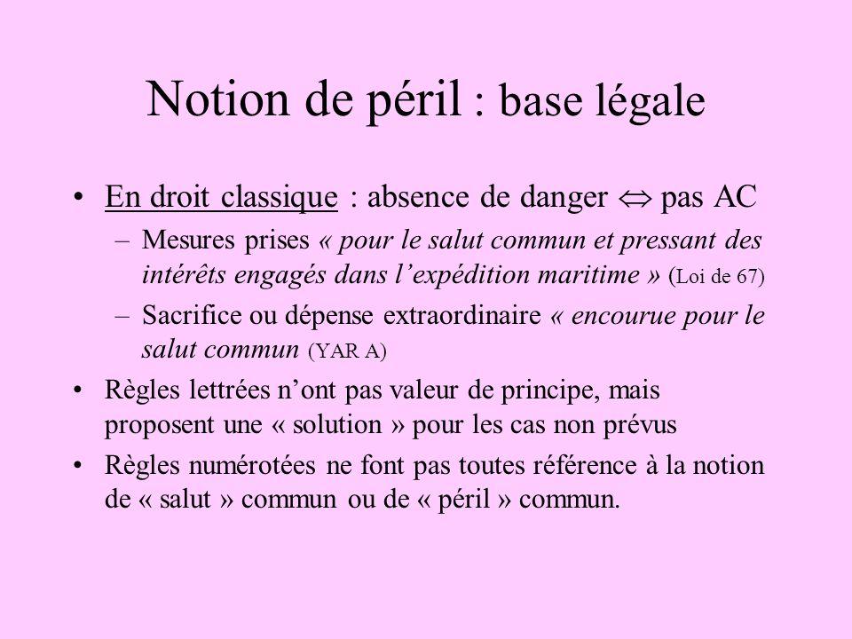 En droit classique : absence de danger pas AC –Mesures prises « pour le salut commun et pressant des intérêts engagés dans lexpédition maritime » ( Lo