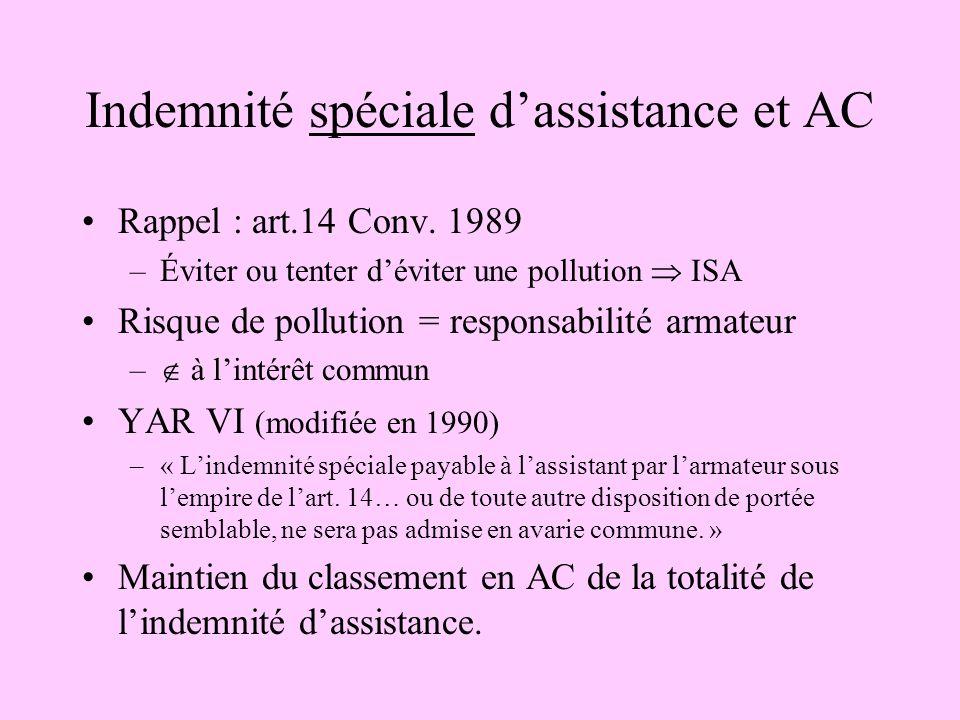 Indemnité spéciale dassistance et AC Rappel : art.14 Conv. 1989 –Éviter ou tenter déviter une pollution ISA Risque de pollution = responsabilité armat