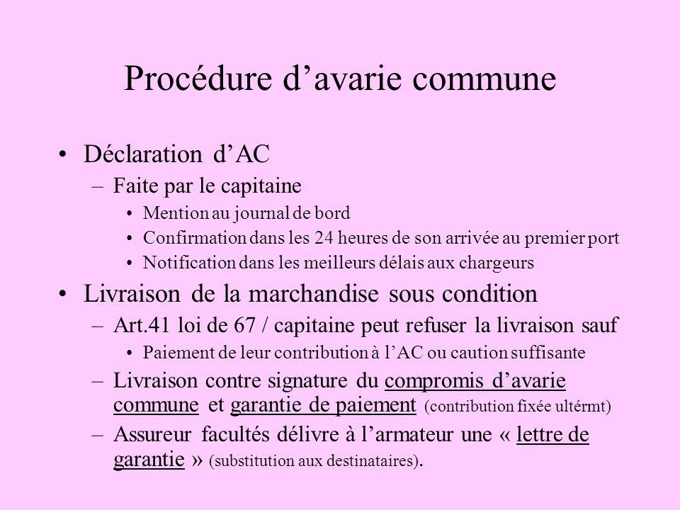 Procédure davarie commune Déclaration dAC –Faite par le capitaine Mention au journal de bord Confirmation dans les 24 heures de son arrivée au premier