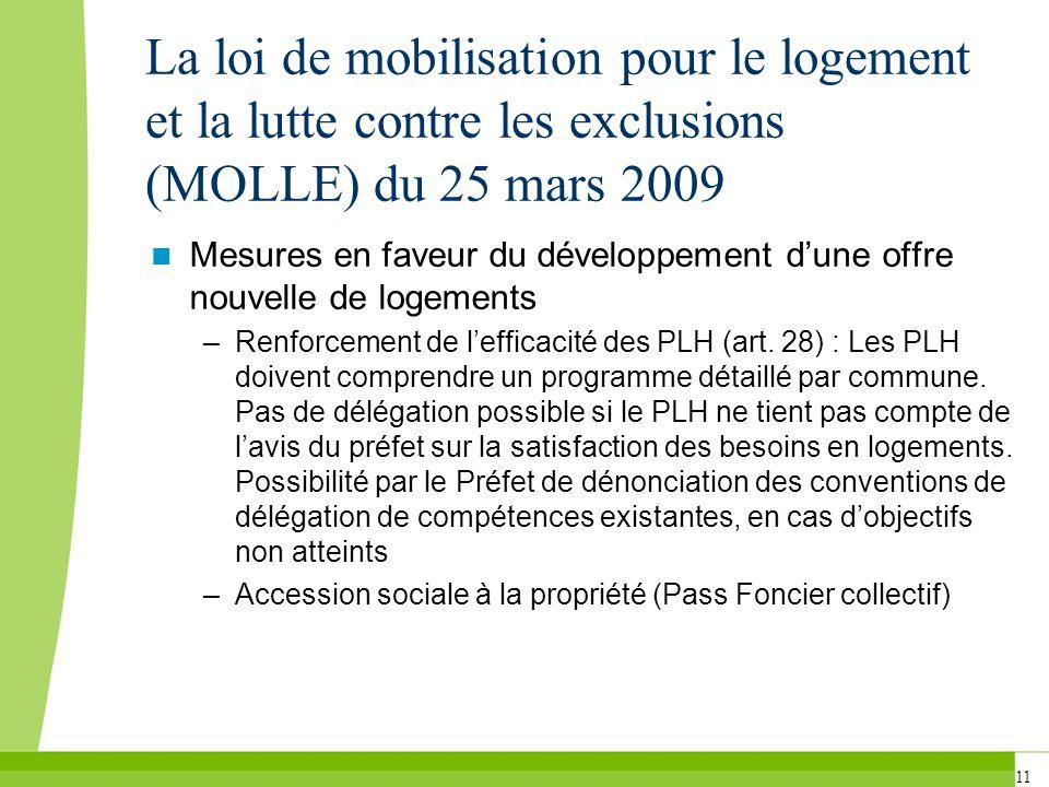 11 La loi de mobilisation pour le logement et la lutte contre les exclusions (MOLLE) du 25 mars 2009 Mesures en faveur du développement dune offre nou