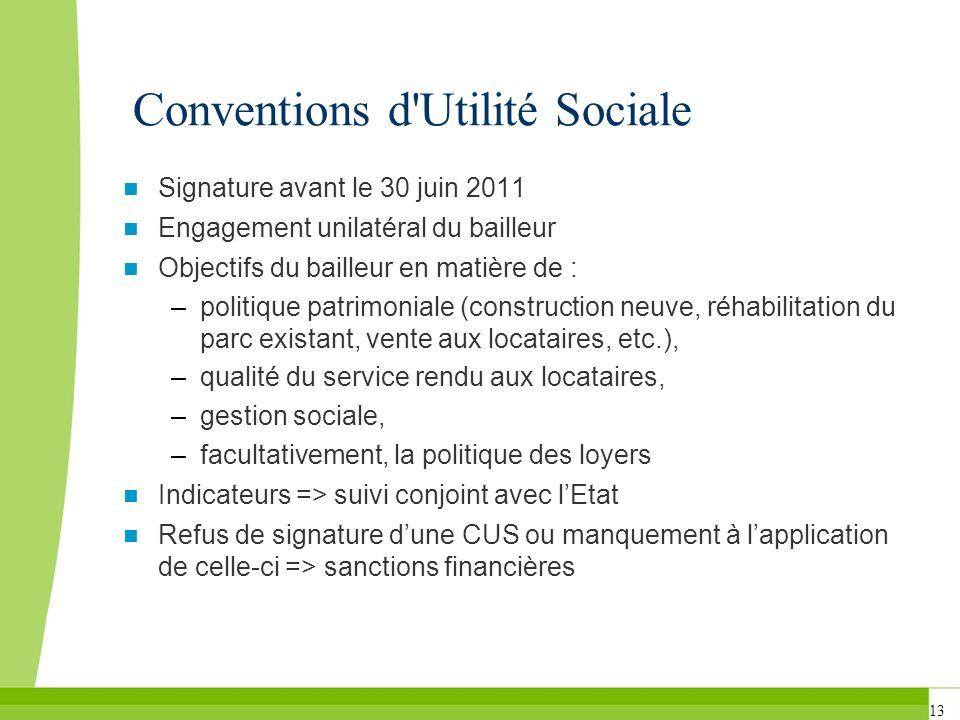 13 Conventions d'Utilité Sociale Signature avant le 30 juin 2011 Engagement unilatéral du bailleur Objectifs du bailleur en matière de : –politique pa