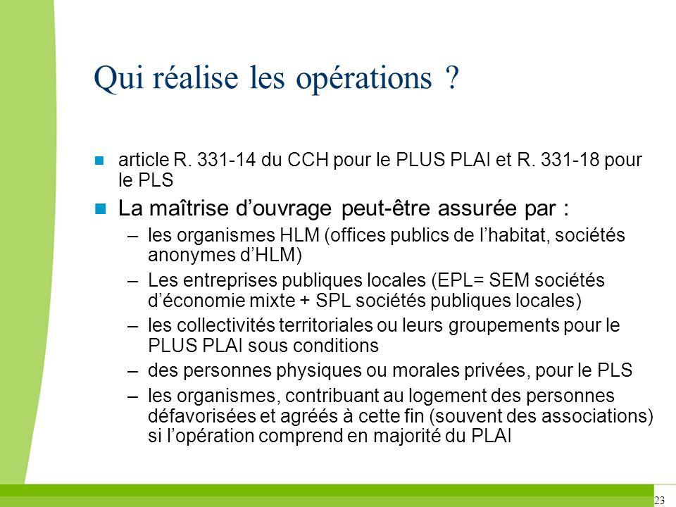 23 Qui réalise les opérations ? article R. 331-14 du CCH pour le PLUS PLAI et R. 331-18 pour le PLS La maîtrise douvrage peut-être assurée par : –les