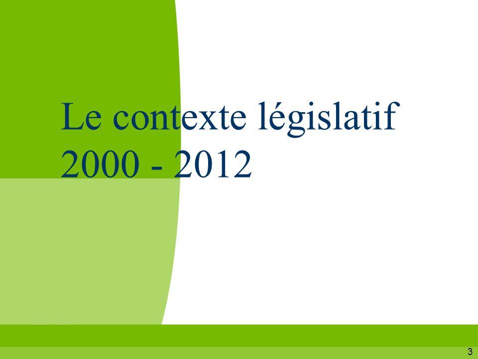 3 Le contexte législatif 2000 - 2012