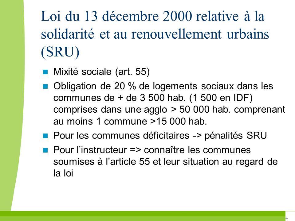 4 Loi du 13 décembre 2000 relative à la solidarité et au renouvellement urbains (SRU) Mixité sociale (art. 55) Obligation de 20 % de logements sociaux