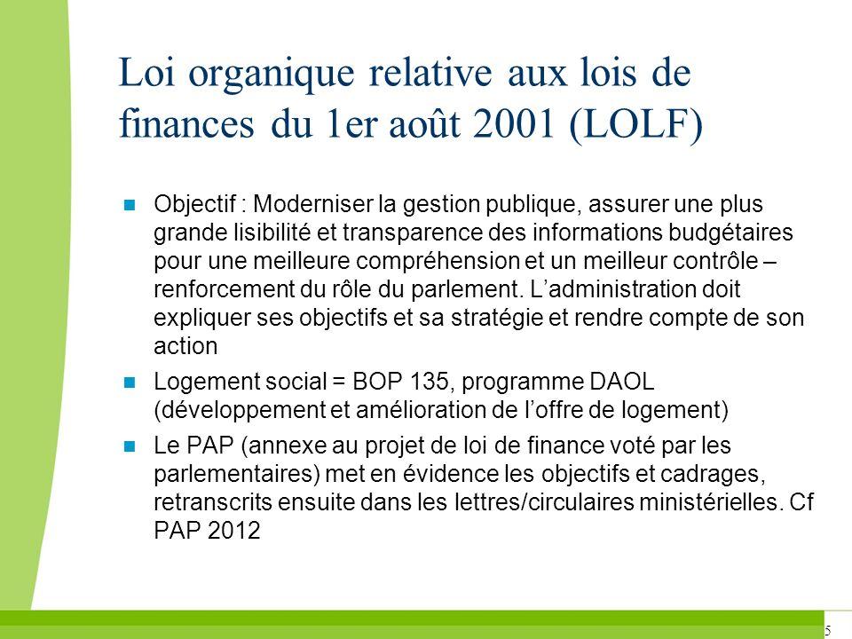 5 Loi organique relative aux lois de finances du 1er août 2001 (LOLF) Objectif : Moderniser la gestion publique, assurer une plus grande lisibilité et