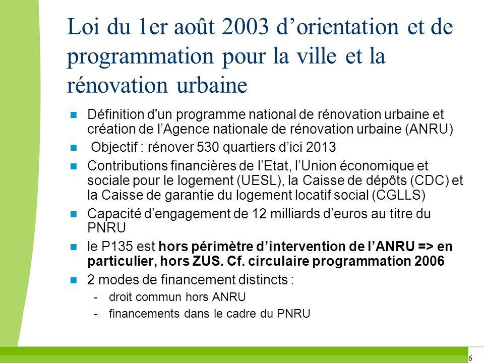 6 Loi du 1er août 2003 dorientation et de programmation pour la ville et la rénovation urbaine Définition d'un programme national de rénovation urbain