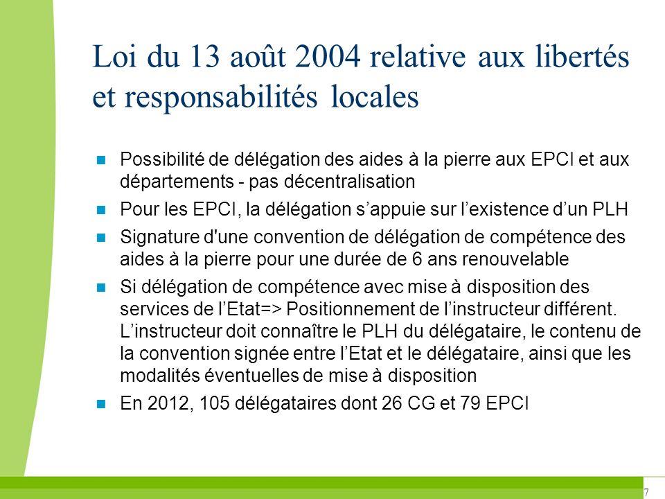 7 Loi du 13 août 2004 relative aux libertés et responsabilités locales Possibilité de délégation des aides à la pierre aux EPCI et aux départements -