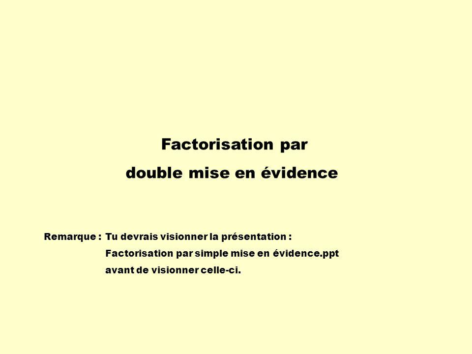 Factorisation par double mise en évidence Remarque :Tu devrais visionner la présentation : Factorisation par simple mise en évidence.ppt avant de visi