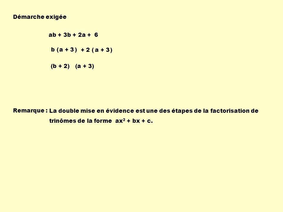 Remarque : La double mise en évidence est une des étapes de la factorisation de trinômes de la forme ax 2 + bx + c. Démarche exigée + 2 ( ) b ( ) ab +
