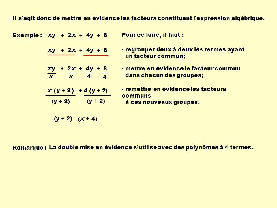 x ( ) x y + 2 x + 4y + 8 + 4 ( ) Il sagit donc de mettre en évidence les facteurs constituant lexpression algébrique. Pour ce faire, il faut : - regro