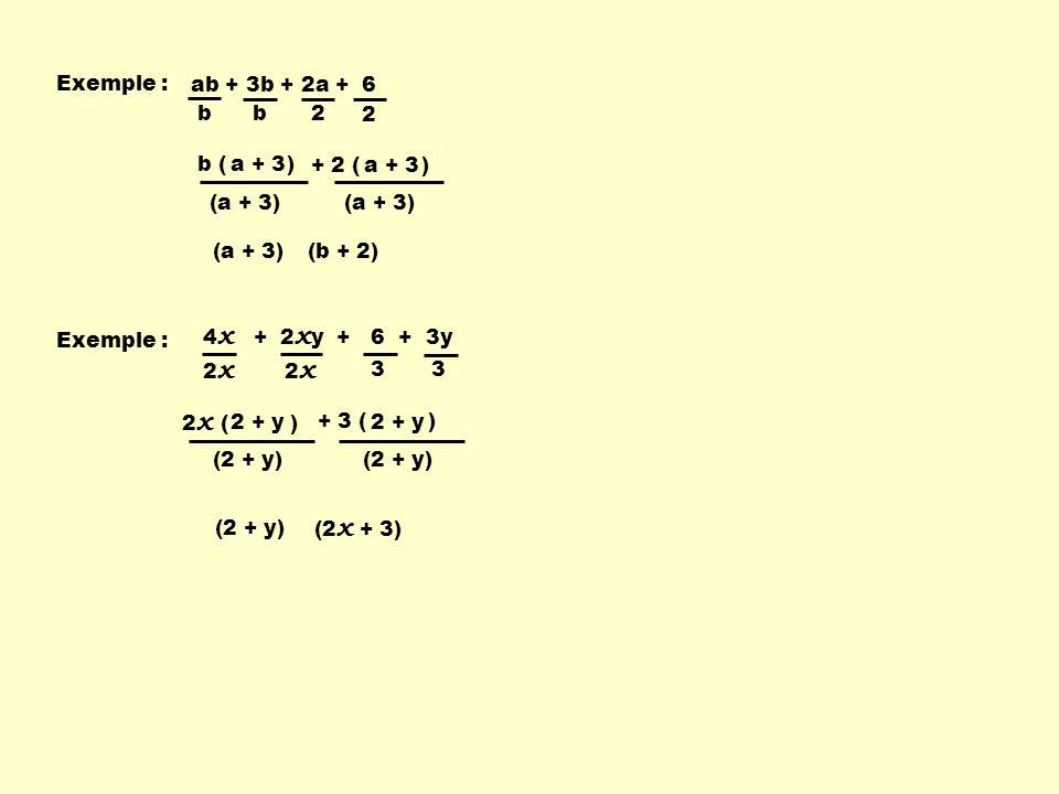 2a 3 b + 3a 3 + 2b 2 + 3b - 4 ( ) b ( ) ab + 5b - 4a - 20 Exemple : - 4 b b a + 5 (a + 5) (b – 4) (a + 5) ab – 20 + 5b - 4a Regrouper deux à deux les termes ayant un facteur commun.