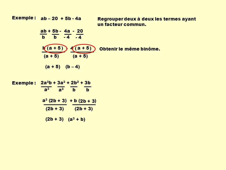 2a 3 b + 3a 3 + 2b 2 + 3b - 4 ( ) b ( ) ab + 5b - 4a - 20 Exemple : - 4 b b a + 5 (a + 5) (b – 4) (a + 5) ab – 20 + 5b - 4a Regrouper deux à deux les