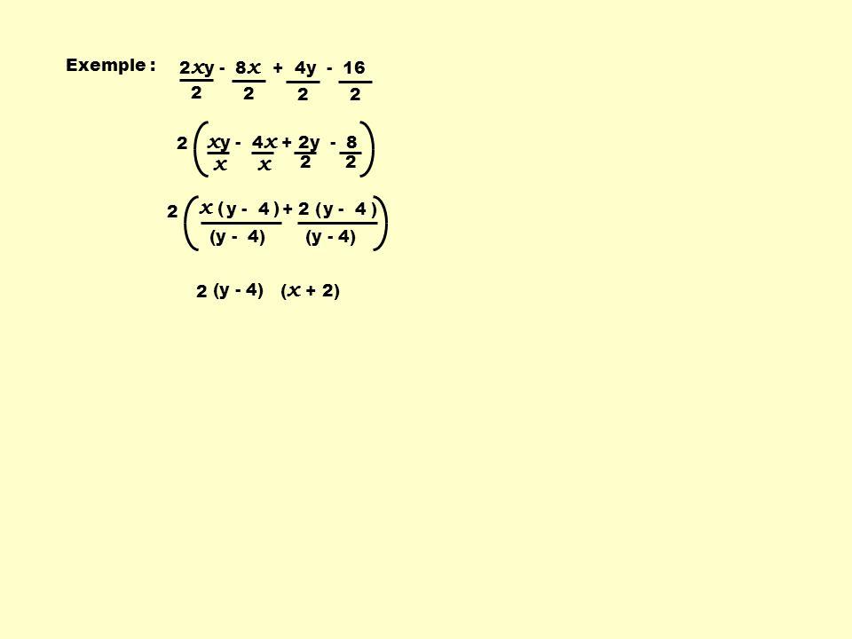 + 2 ( )y - 4 x ( ) 2 x y - 8 x + 4y - 16 2 2 22 x y - 4 x + 2y - 8 x x 22 y - 4 (y - 4) ( x + 2) (y - 4) 2 2 2 Exemple :