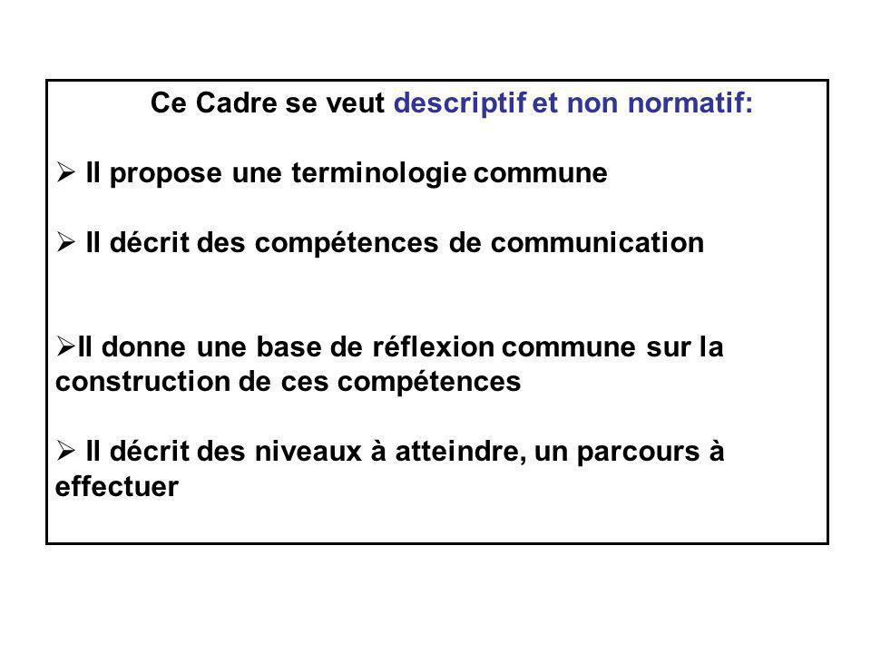 Ce Cadre se veut descriptif et non normatif: Il propose une terminologie commune Il décrit des compétences de communication Il donne une base de réfle