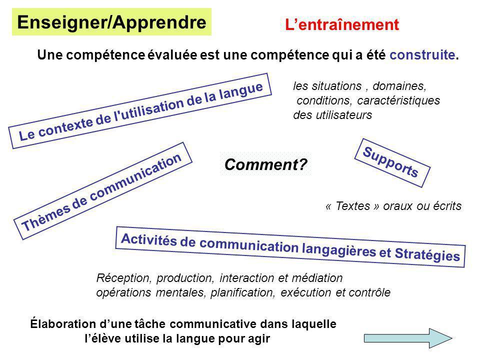 Lentraînement Une compétence évaluée est une compétence qui a été construite. Activités de communication langagières et Stratégies Le contexte de l'ut