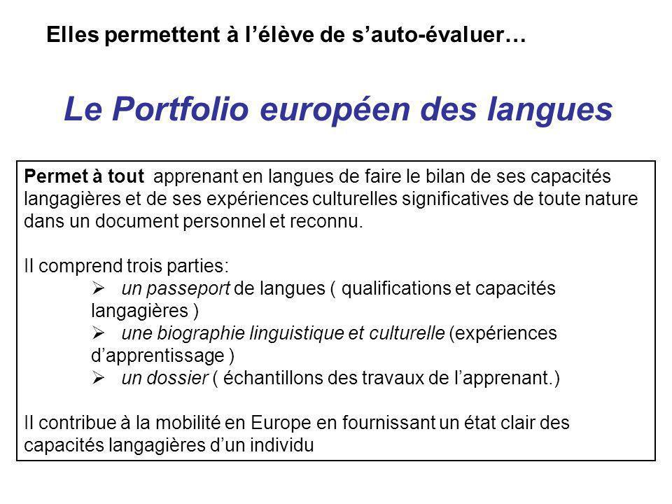 Le Portfolio européen des langues Elles permettent à lélève de sauto-évaluer… Permet à tout apprenant en langues de faire le bilan de ses capacités la