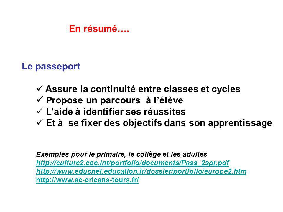 Le passeport Assure la continuité entre classes et cycles Propose un parcours à lélève Laide à identifier ses réussites Et à se fixer des objectifs da