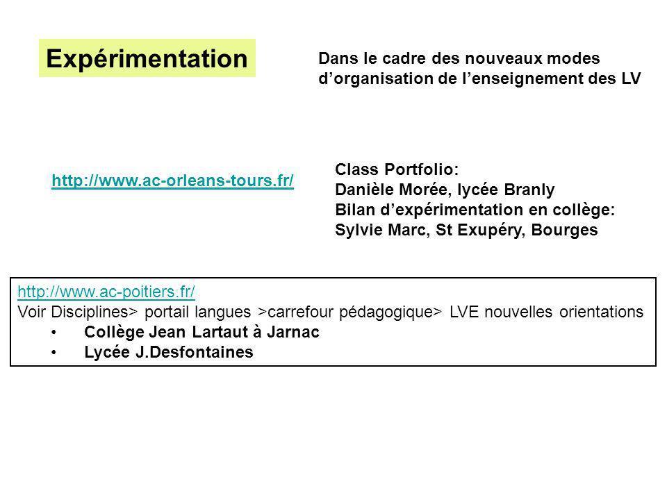 Expérimentation Dans le cadre des nouveaux modes dorganisation de lenseignement des LV http://www.ac-poitiers.fr/ Voir Disciplines> portail langues >c