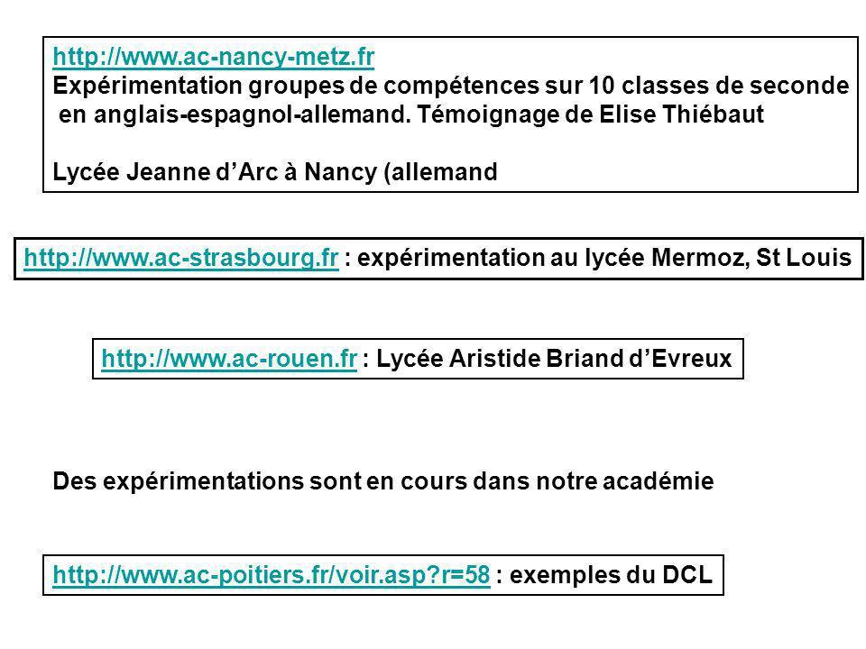 http://www.ac-poitiers.fr/voir.asp?r=58http://www.ac-poitiers.fr/voir.asp?r=58 : exemples du DCL http://www.ac-nancy-metz.fr Expérimentation groupes d