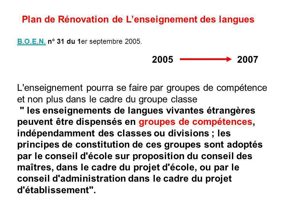 L'enseignement pourra se faire par groupes de compétence et non plus dans le cadre du groupe classe