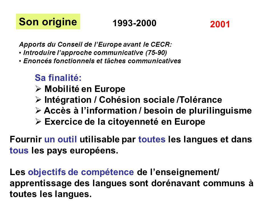 Son origine 1993-2000 2001 Sa finalité: Mobilité en Europe Intégration / Cohésion sociale /Tolérance Accès à linformation / besoin de plurilinguisme E
