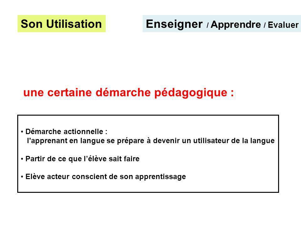 Son UtilisationEnseigner / Apprendre / Evaluer Démarche actionnelle : l'apprenant en langue se prépare à devenir un utilisateur de la langue Partir de