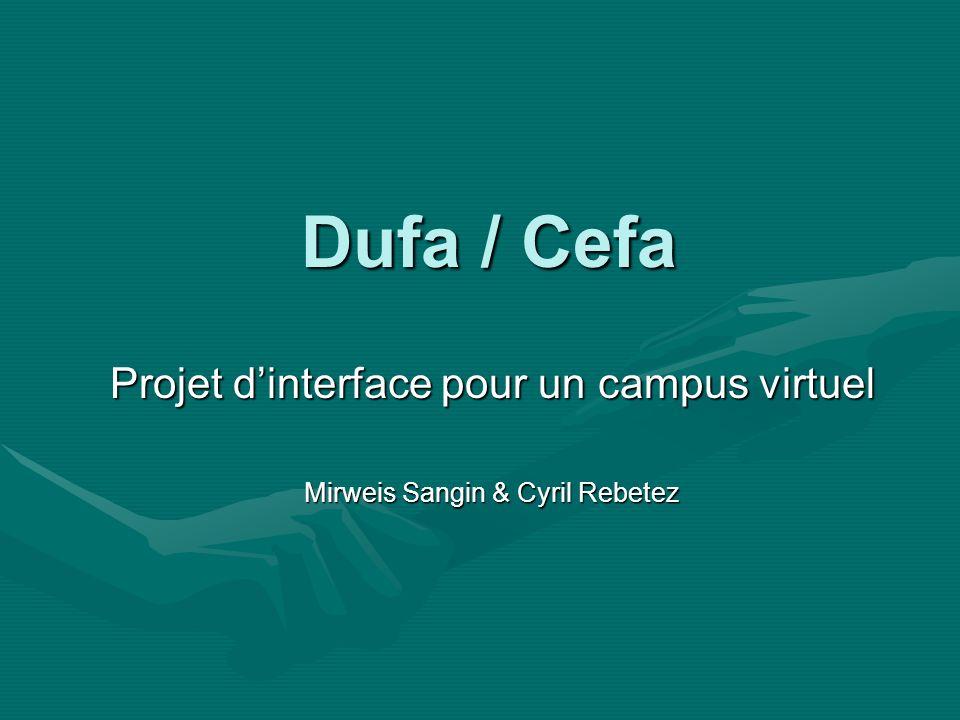 Dufa / Cefa Projet dinterface pour un campus virtuel Mirweis Sangin & Cyril Rebetez