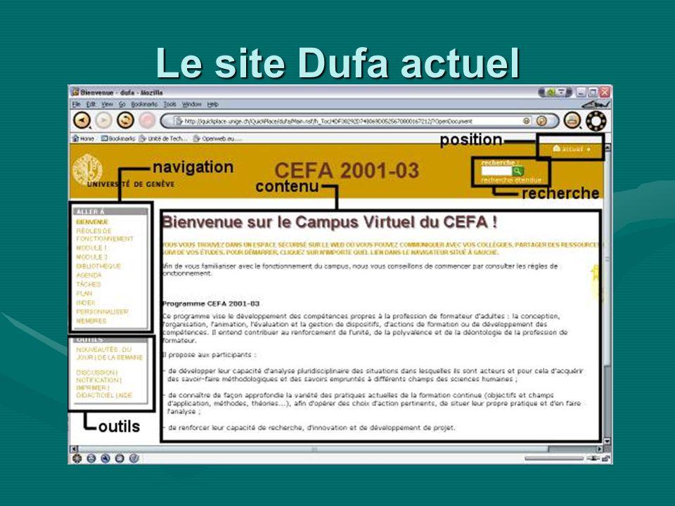 Le site Dufa actuel
