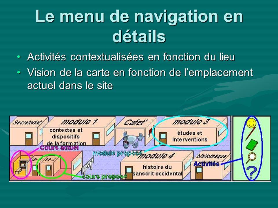 Le menu de navigation en détails Activités contextualisées en fonction du lieuActivités contextualisées en fonction du lieu Vision de la carte en fonction de lemplacement actuel dans le siteVision de la carte en fonction de lemplacement actuel dans le site