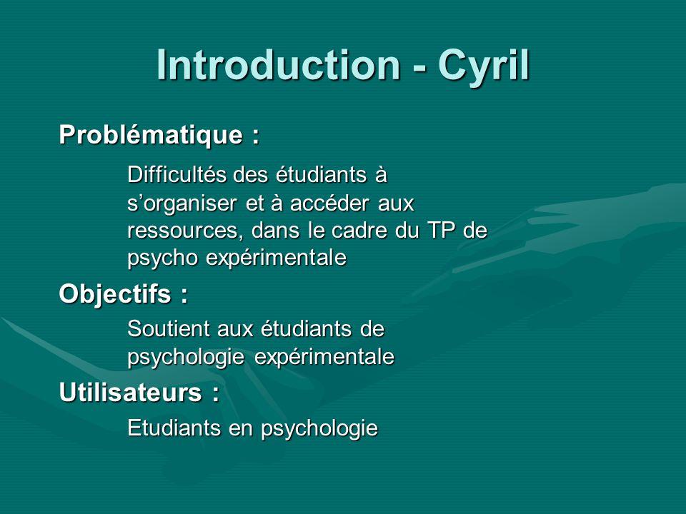 Introduction - Cyril Problématique : Difficultés des étudiants à sorganiser et à accéder aux ressources, dans le cadre du TP de psycho expérimentale Objectifs : Soutient aux étudiants de psychologie expérimentale Utilisateurs : Etudiants en psychologie