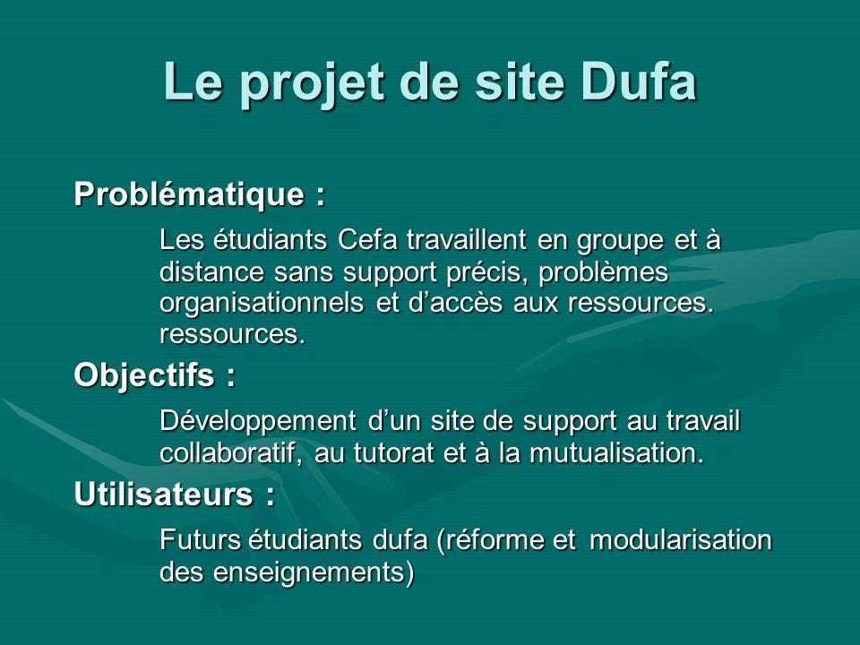 Le projet de site Dufa Problématique : Les étudiants Cefa travaillent en groupe et à distance sans support précis, problèmes organisationnels et daccès aux ressources.