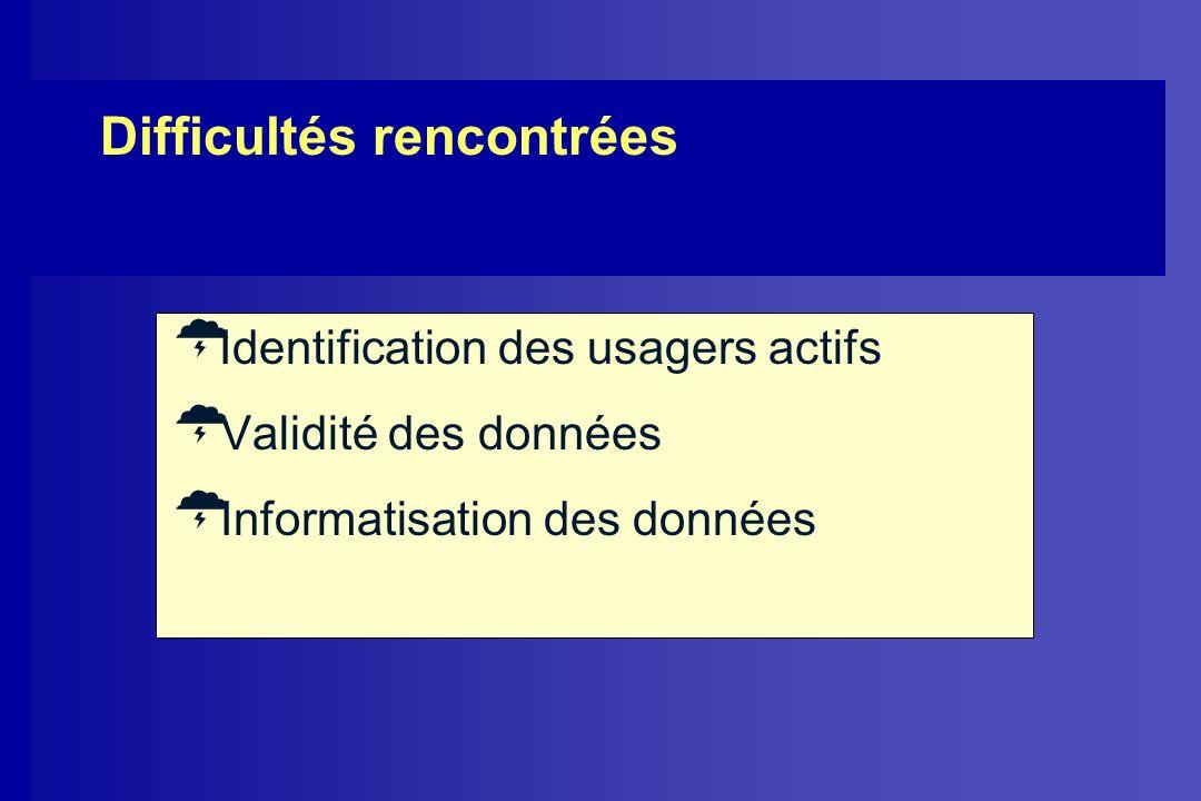 Difficultés rencontrées Identification des usagers actifs Validité des données Informatisation des données