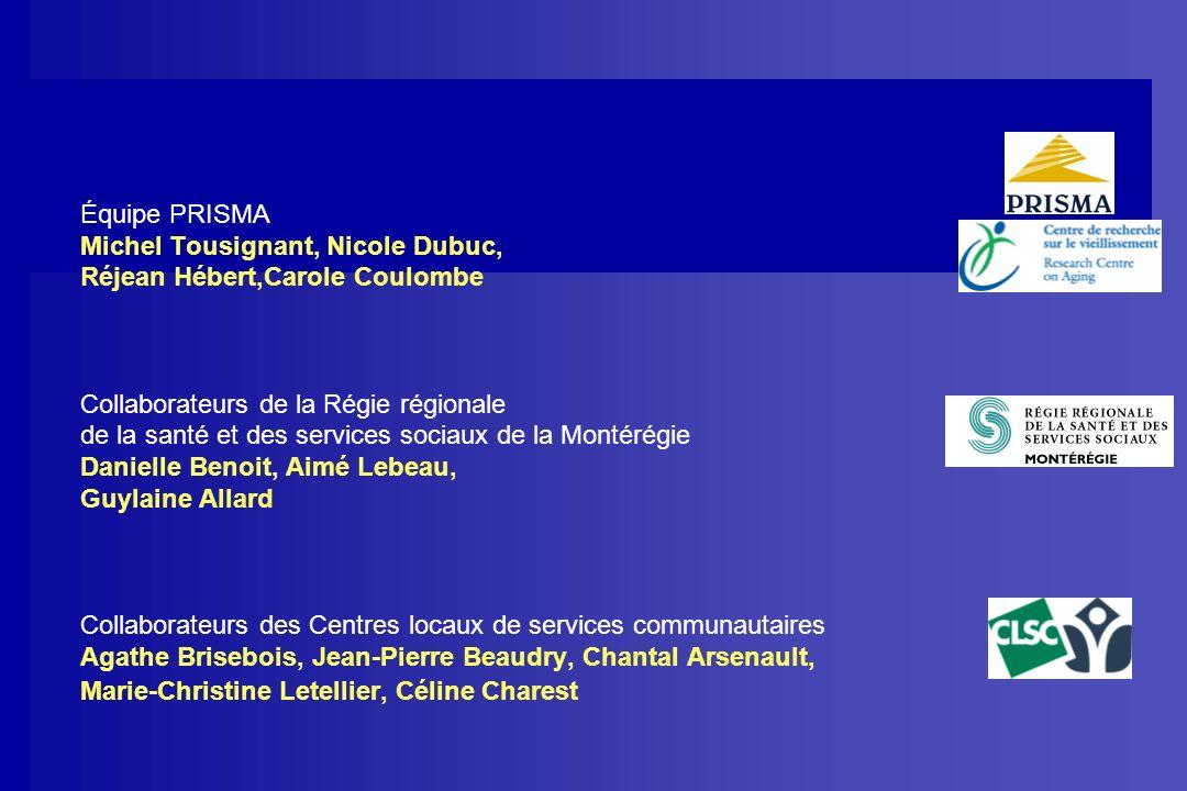 Équipe PRISMA Michel Tousignant, Nicole Dubuc, Réjean Hébert,Carole Coulombe Collaborateurs de la Régie régionale de la santé et des services sociaux