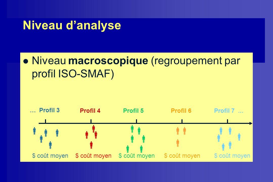 Niveau danalyse l Niveau macroscopique (regroupement par profil ISO-SMAF) … Profil 3 Profil 4Profil 5Profil 6Profil 7... $ coût moyen