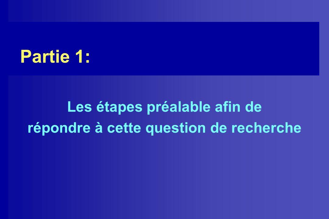 Partie 1: Les étapes préalable afin de répondre à cette question de recherche