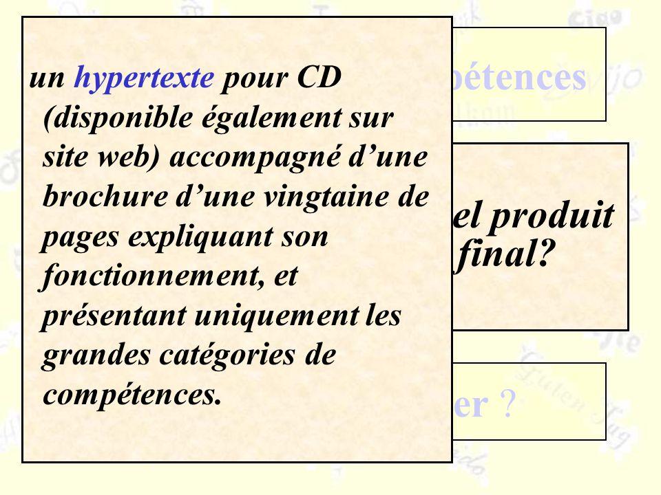 Quel produit final? Un référentiel de compétences Comment le réaliser ? Dans quels buts ? un hypertexte pour CD (disponible également sur site web) ac