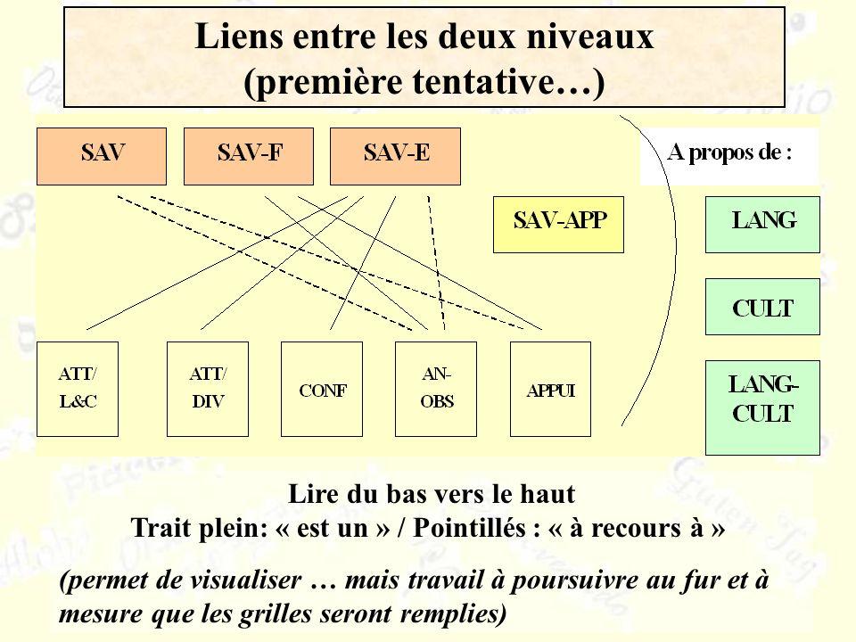 Liens entre les deux niveaux (première tentative…) Lire du bas vers le haut Trait plein: « est un » / Pointillés : « à recours à » (permet de visualis