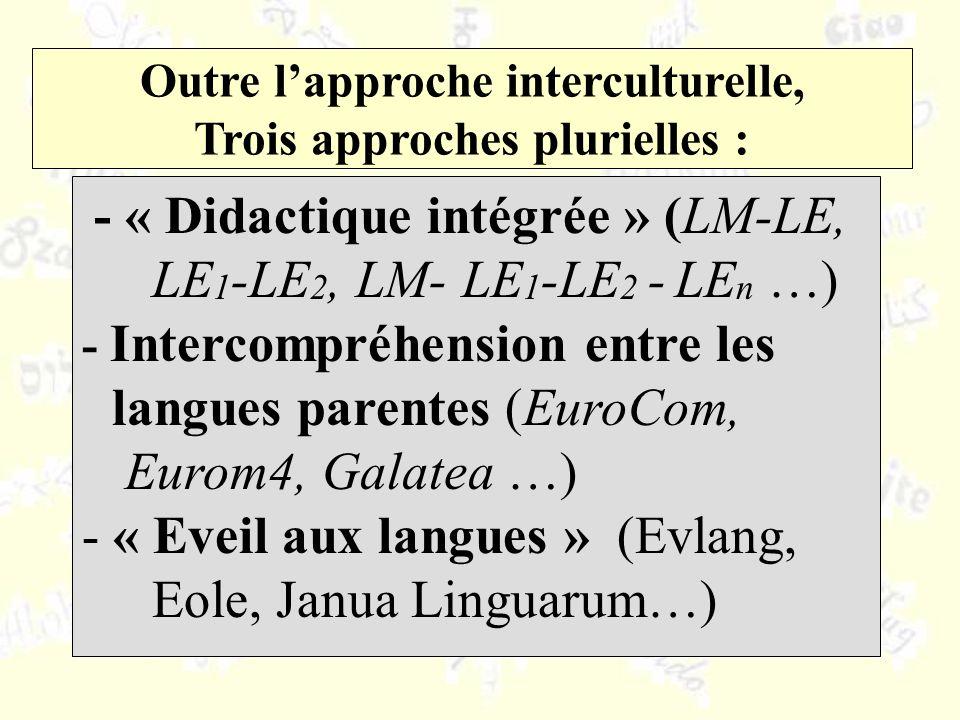 Outre lapproche interculturelle, Trois approches plurielles : - « Didactique intégrée » (LM-LE, LE 1 -LE 2, LM- LE 1 -LE 2 - LE n …) - Intercompréhens