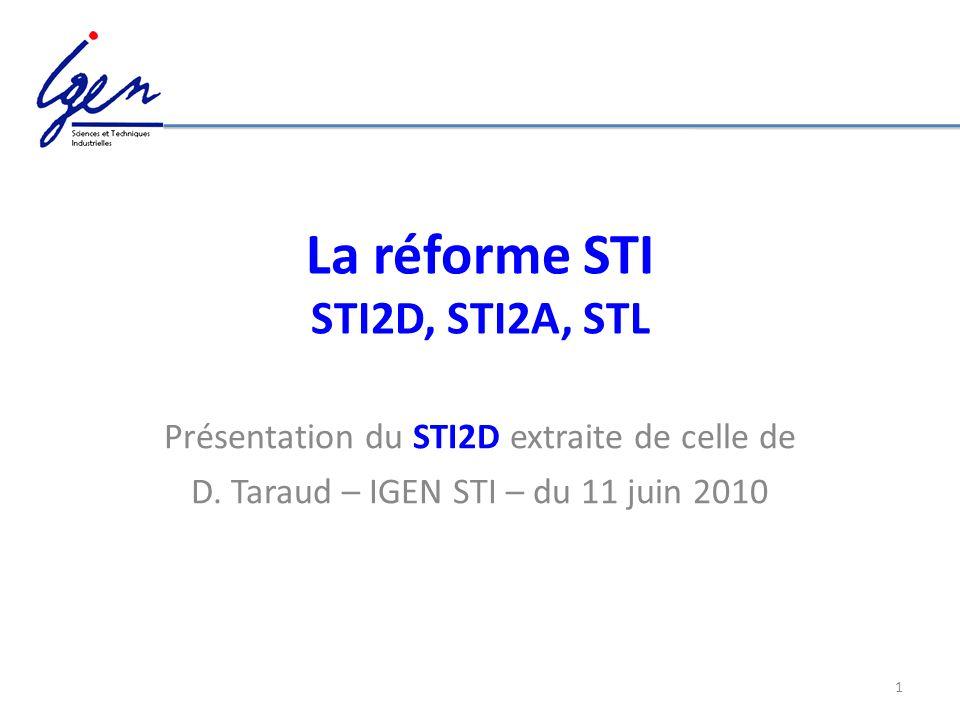 1 La réforme STI STI2D, STI2A, STL Présentation du STI2D extraite de celle de D. Taraud – IGEN STI – du 11 juin 2010