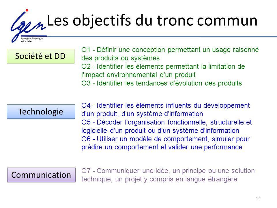 14 Les objectifs du tronc commun O7 - Communiquer une idée, un principe ou une solution technique, un projet y compris en langue étrangère O4 - Identi